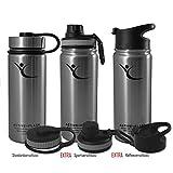 Trinkflasche ACTIVE FLASK von BeMaxx Fitness + 3 Trinkverschlüsse – Vakuum-isolierte Edelstahl Thermosflasche | BPA frei - 1l & 0,5l | Wasserflasche für Büro, Sport, Fahrrad, Outdoor – Kaffee & Tee (Classic Stainless | 530ml, 530ml)